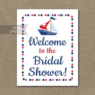 Bridal Shower Welcome Sign - Sailboat Nautical