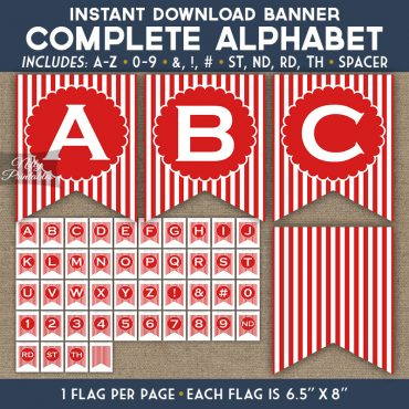 Alphabet Party Banner - Red White Stripe