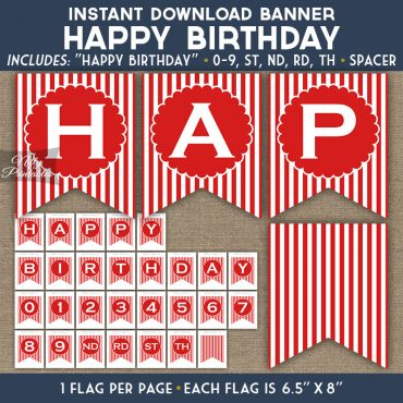 Happy Birthday Banner - Red Blue White Stripe