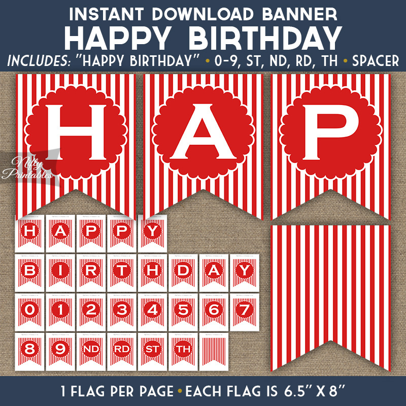 Happy Birthday Banner Red Blue White Stripe Nifty Printables