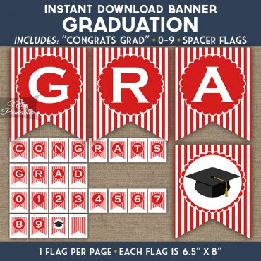 Graduation Banner - Red White Stripe