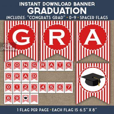 Graduation Banner - Red White Stripe