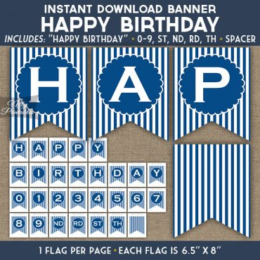 Happy Birthday Banner - Royal Blue White Stripe