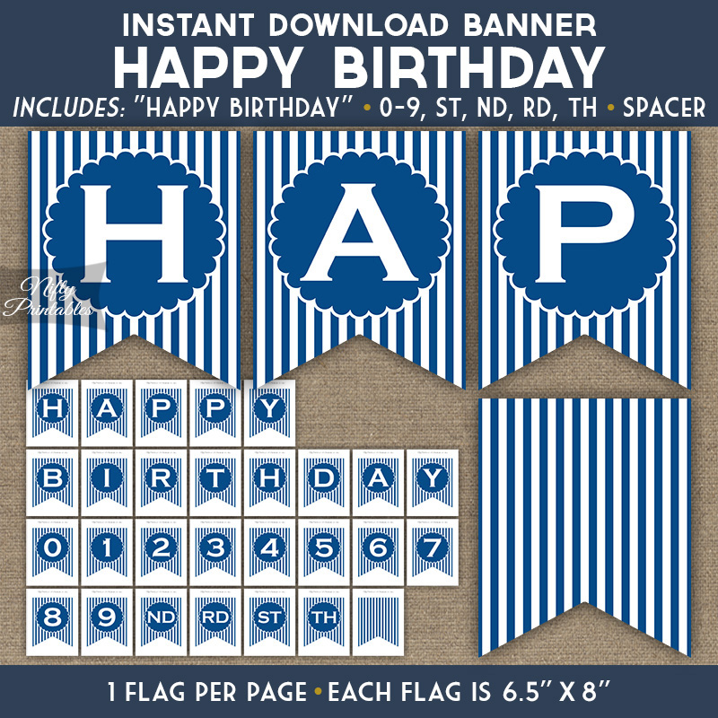 photo about Printable Birthday Banner identify Content Birthday Banner - Royal Blue White Stripe
