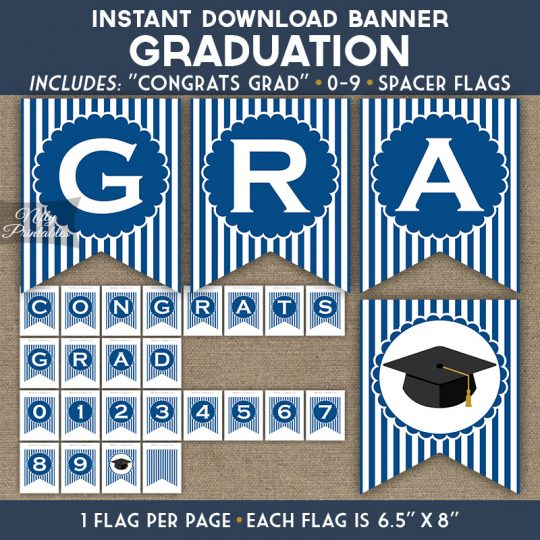 Graduation Banner - Royal Blue White Stripe