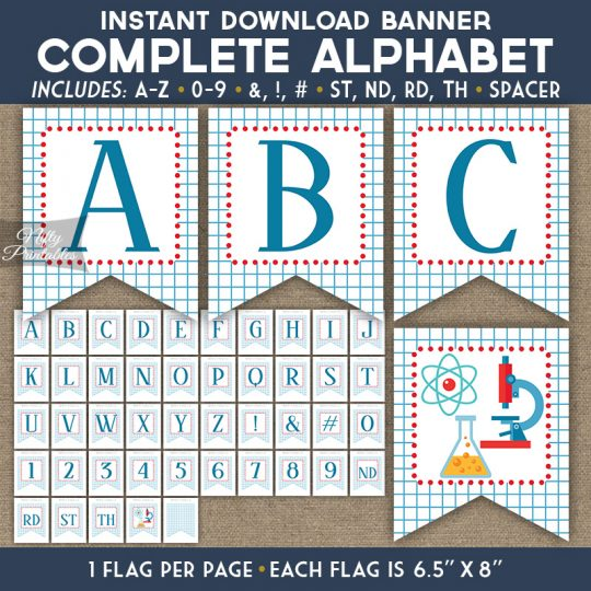 Alphabet Party Banner - Science Chemistry