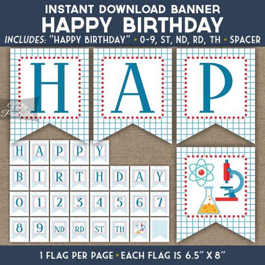 Happy Birthday Banner - Science Chemistry