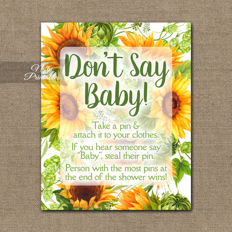 Don't Say Baby Shower Game - Sunflowers