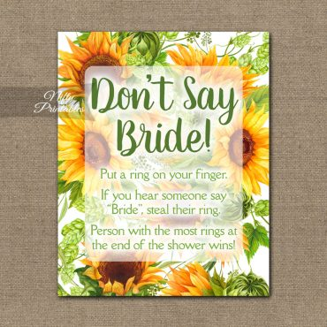 Don't Say Bride Shower Game - Sunflowers