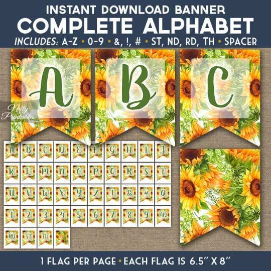Alphabet Party Banner - Sunflowers