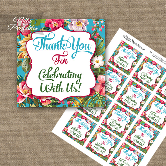 Thank You Favor Tags - Tropical Floral