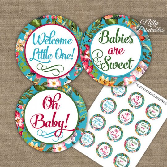 Baby Shower Toppers - Tropical Floral