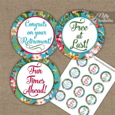 Retirement Cupcake Toppers - Tropical Floral