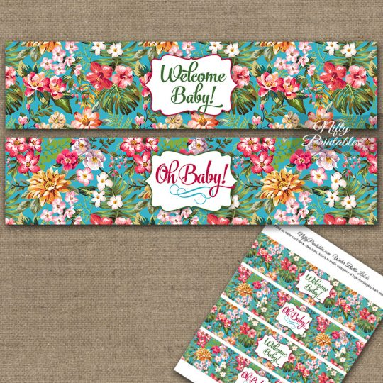 Baby Shower Water Bottle Labels - Tropical Floral