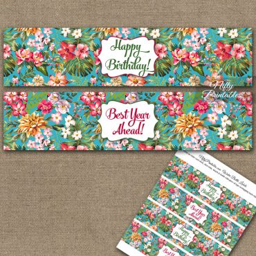 Happy Birthday Water Bottle Labels - Tropical Floral