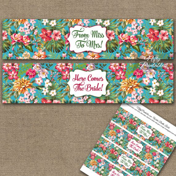 Bridal Shower Water Bottle Labels - Tropical Floral