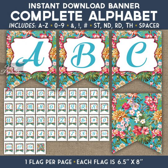 Alphabet Party Banner - Tropical Blue Floral