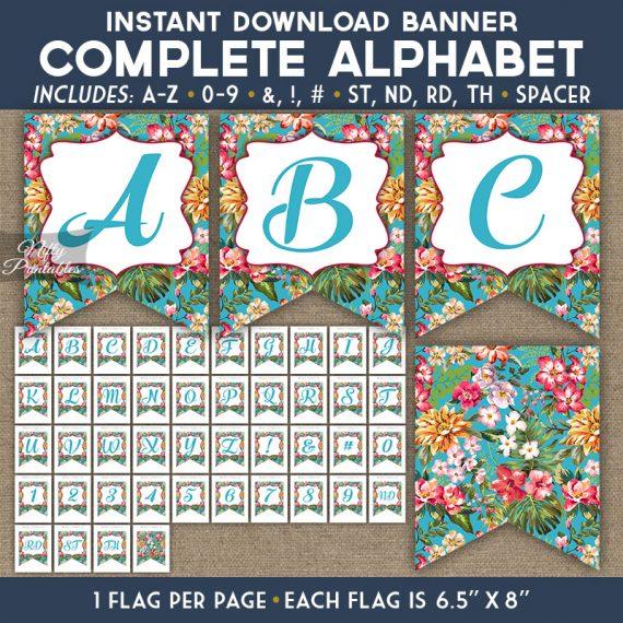 Alphabet Party Banner - Tropical Blue Floral