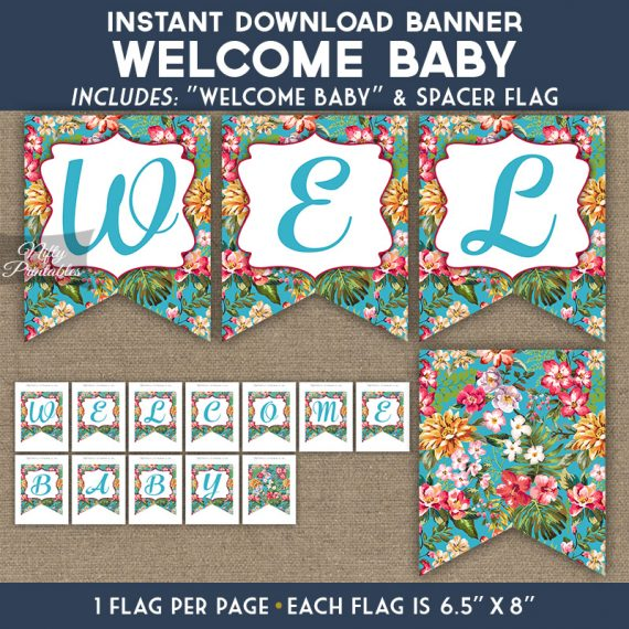 Baby Shower Banner - Tropical Blue Floral