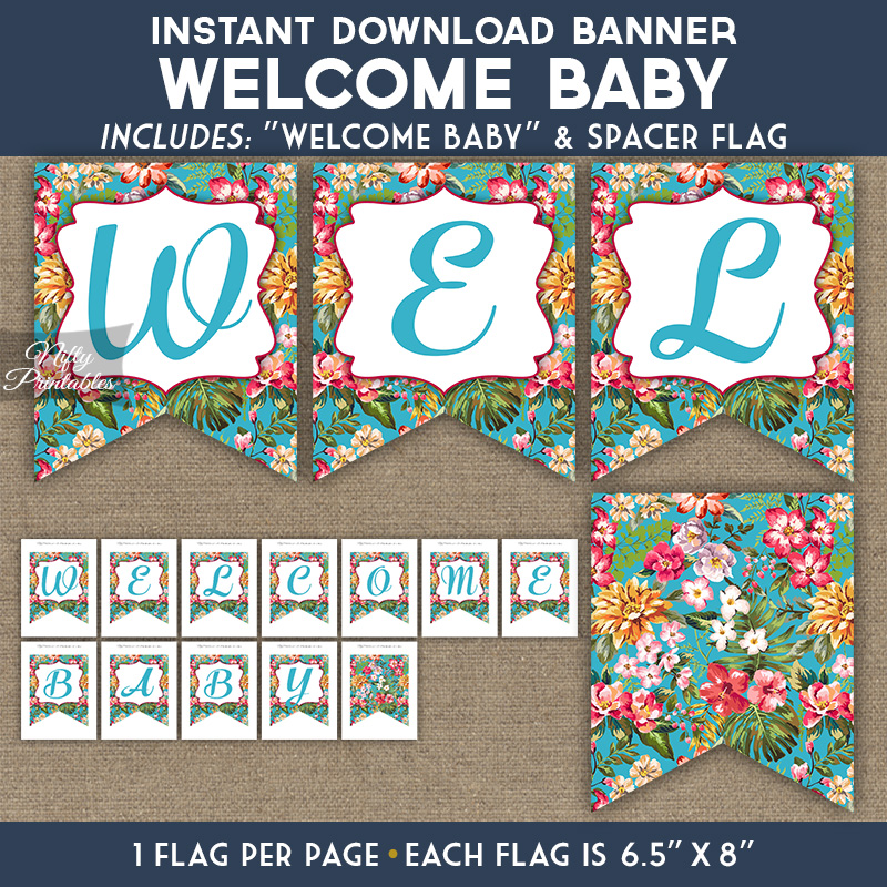 image regarding Printable Baby Shower Banners identify Youngster Shower Banner - Tropical Blue Floral