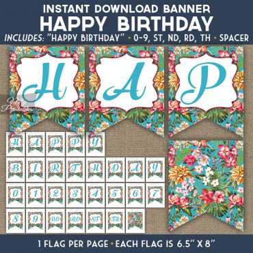 Happy Birthday Banner - Tropical Blue Floral