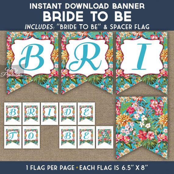 Bridal Shower Banner - Tropical Blue Floral