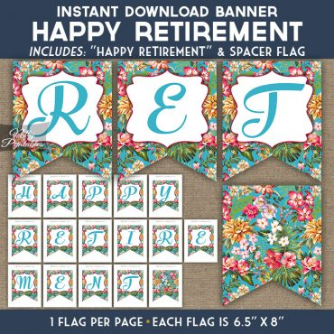 Retirement Banner - Tropical Blue Floral