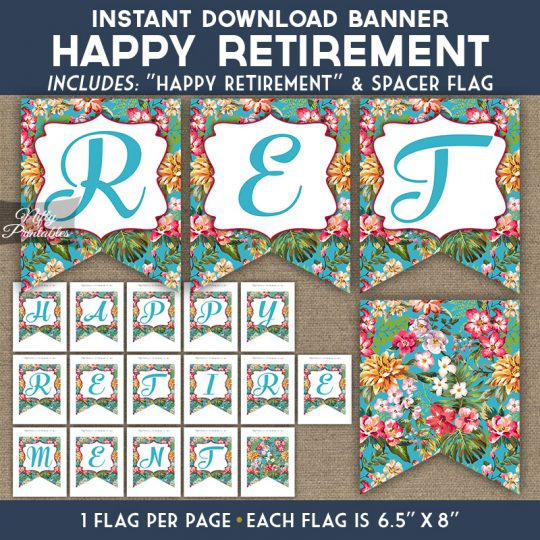 Retirement Banner - Tropical Blue Floral