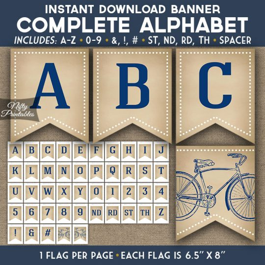 Alphabet Party Banner - Vintage Bicycle Blue
