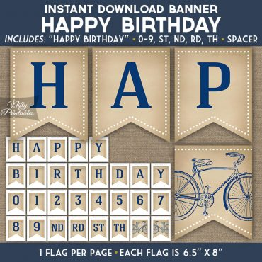Happy Birthday Banner - Vintage Bicycle Blue