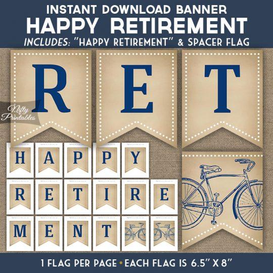 Retirement Banner - Vintage Bicycle Blue