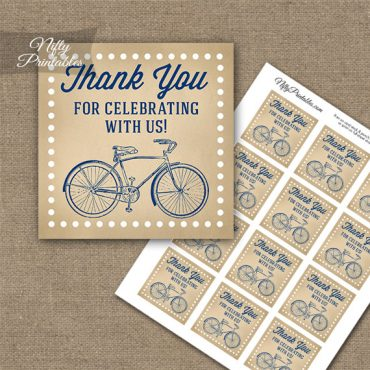 Vintage Bicycle Blue Thank You Favor Tags