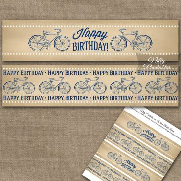 Vintage Bicycle Blue Birthday Water Bottle Labels