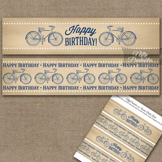 Vintage Bicycle Blue Birthday Water Bottle Labels