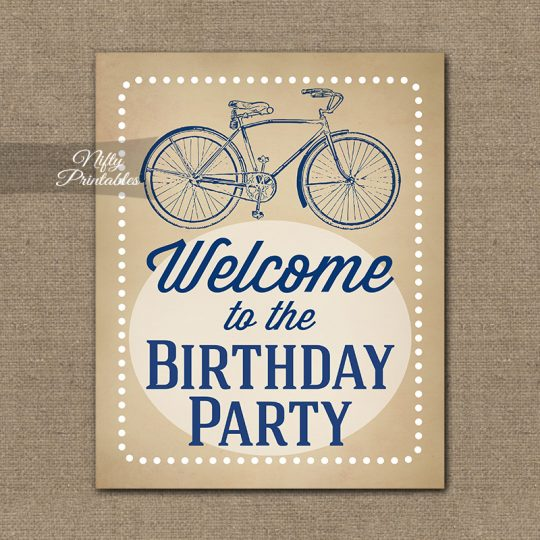 Birthday Welcome Sign - Vintage Bicycle Blue