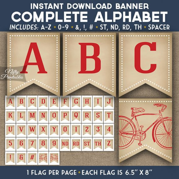 Alphabet Party Banner - Vintage Bicycle Red