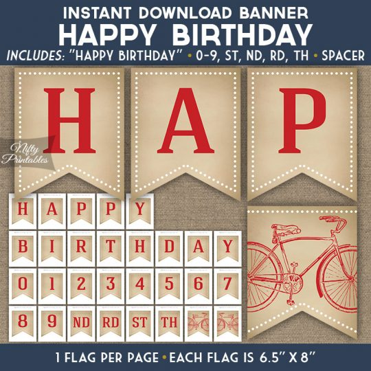 Happy Birthday Banner - Vintage Bicycle Red