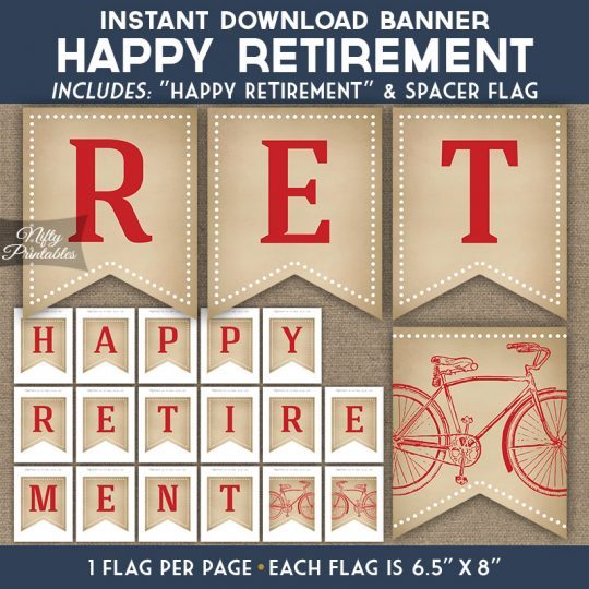 Retirement Banner - Vintage Bicycle Red