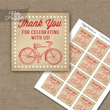 Vintage Bicycle Red Thank You Favor Tags