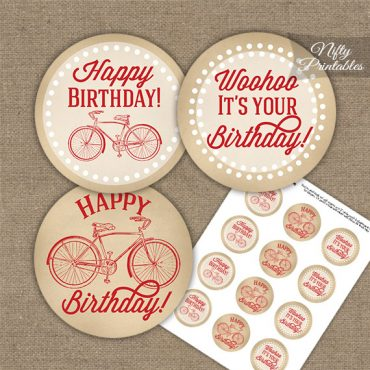 Vintage Bicycle Red Birthday Cupcake Toppers