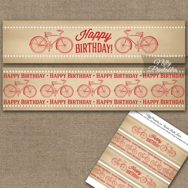 Vintage Bicycle Red Birthday Water Bottle Labels