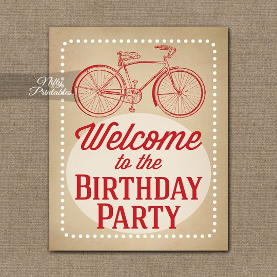 Birthday Welcome Sign - Vintage Bicycle Red