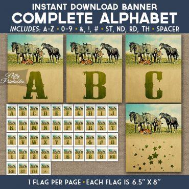 Alphabet Party Banner - Vintage Horses