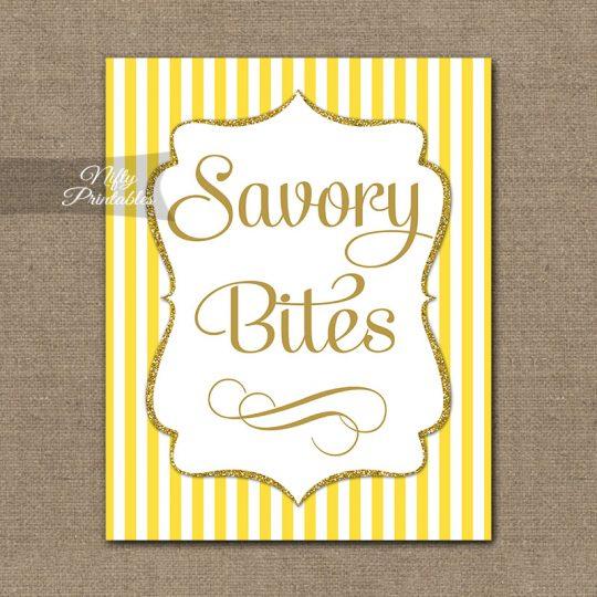 Savory Food Sign - Yellow Gold Stripe