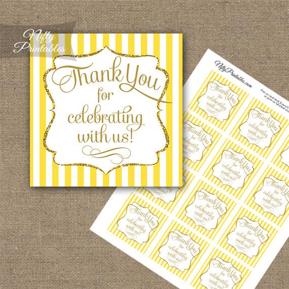 Yellow White Gold Stripe Thank You Favor Tags