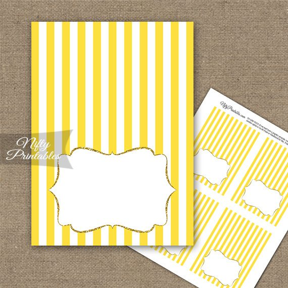 Yellow Gold Stripe Folded Tent Place Cards