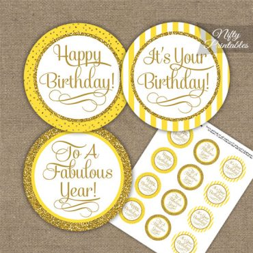 Happy Birthday Cupcake Toppers - Yellow Gold Stripe