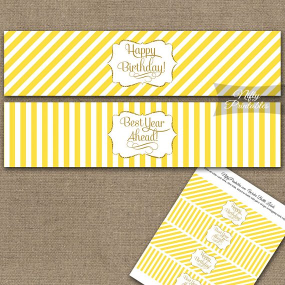 Happy Birthday Water Bottle Labels - Yellow Gold Stripe