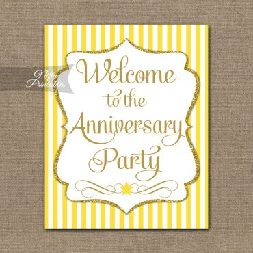Anniversary Welcome Sign - Yellow Gold Stripe