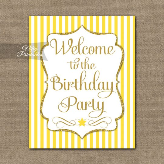 Happy Birthday Welcome Sign - Yellow Gold Stripe
